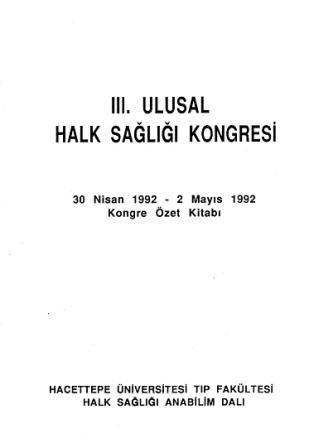 3. Ulusal Halk Sağlığı Kongresi Kongre Kitabı