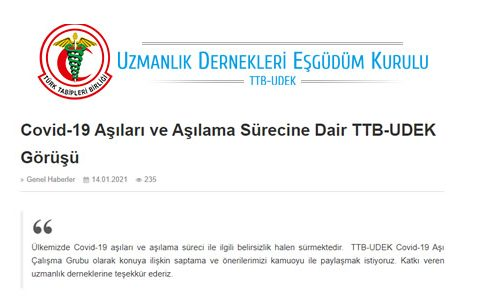 Covid-19 Aşıları ve Aşılama Sürecine Dair TTB-UDEK Görüşü