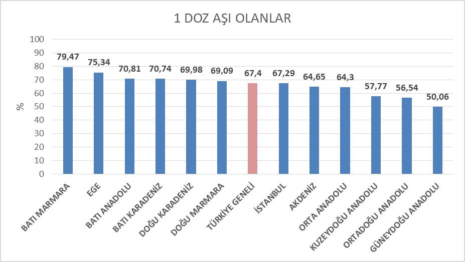Şekil 2 İBBS Düzey 1'e göre Türkiye'de 18 yaş üstü nüfusta 1 doz aşılanma oranları