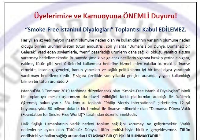 Smoke-Free İstanbul Diyalogları Toplantısı Kabul Edilemez
